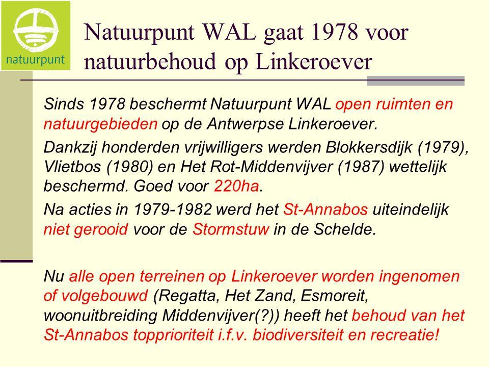 Natuurpunt WAL gaat 1978 voor natuurbehoud op Linkeroever Sinds 1978 beschermt Natuurpunt WAL open ruimten en natuurgebieden op de Antwerpse Linkeroever.