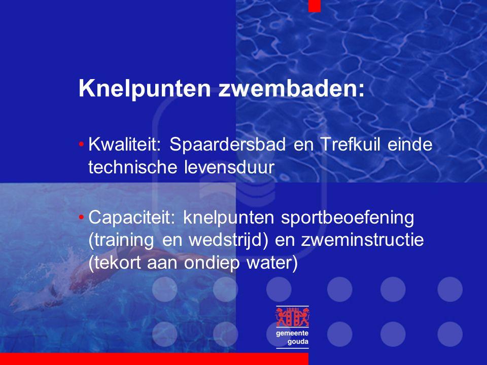 Knelpunten zwembaden: Kwaliteit: Spaardersbad en Trefkuil einde technische levensduur Capaciteit: knelpunten sportbeoefening (training en wedstrijd) en zweminstructie (tekort aan ondiep water)