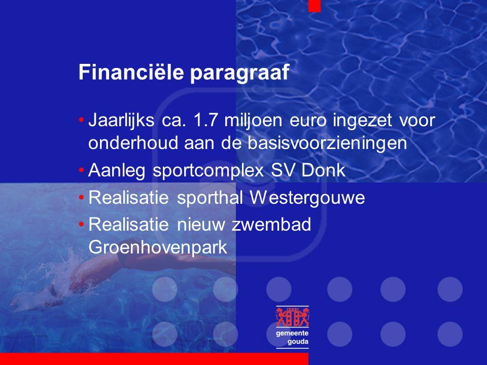 Financiële paragraaf Jaarlijks ca. 1.7 miljoen euro ingezet voor onderhoud aan de basisvoorzieningen Aanleg sportcomplex SV Donk Realisatie sporthal W