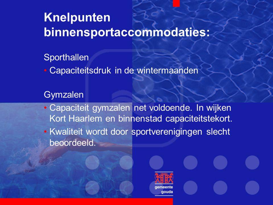 Knelpunten binnensportaccommodaties: Sporthallen Capaciteitsdruk in de wintermaanden Gymzalen Capaciteit gymzalen net voldoende.