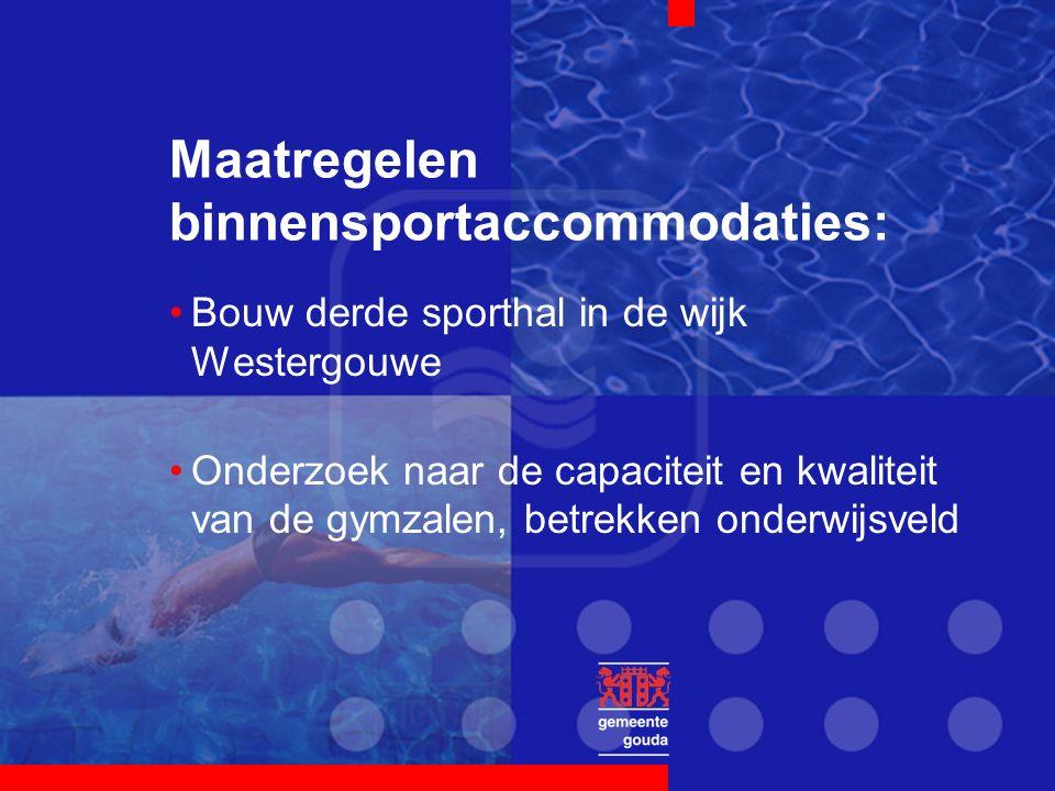 Maatregelen binnensportaccommodaties: Bouw derde sporthal in de wijk Westergouwe Onderzoek naar de capaciteit en kwaliteit van de gymzalen, betrekken
