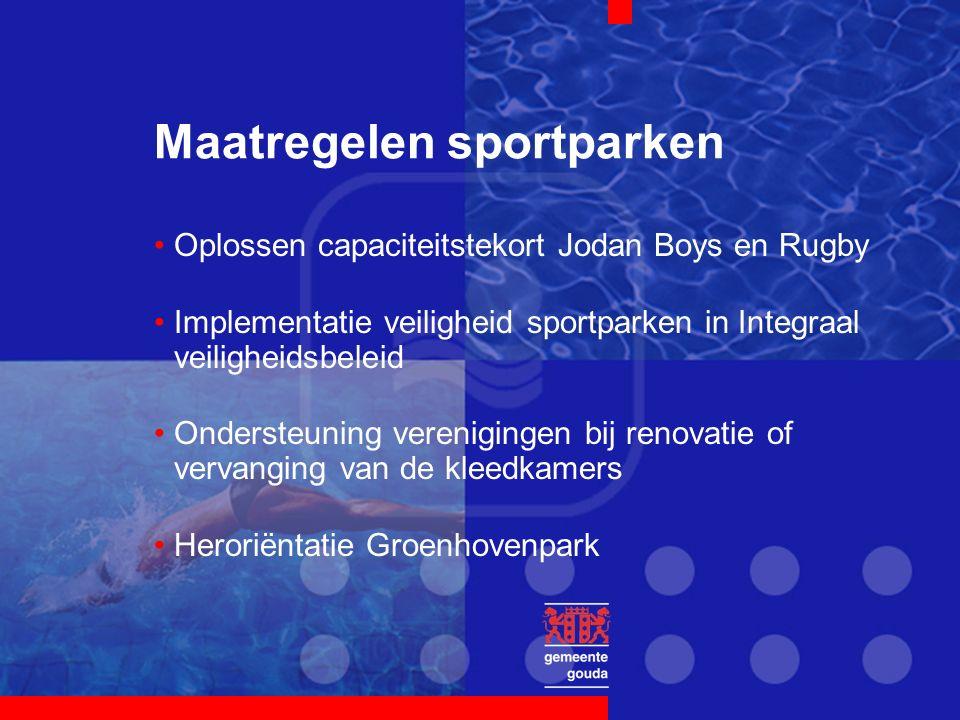Maatregelen sportparken Oplossen capaciteitstekort Jodan Boys en Rugby Implementatie veiligheid sportparken in Integraal veiligheidsbeleid Ondersteuning verenigingen bij renovatie of vervanging van de kleedkamers Heroriëntatie Groenhovenpark