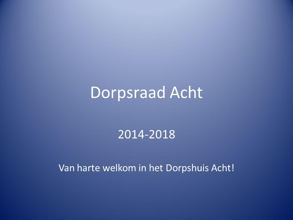 Dorpsraad Acht 2014-2018 Van harte welkom in het Dorpshuis Acht!