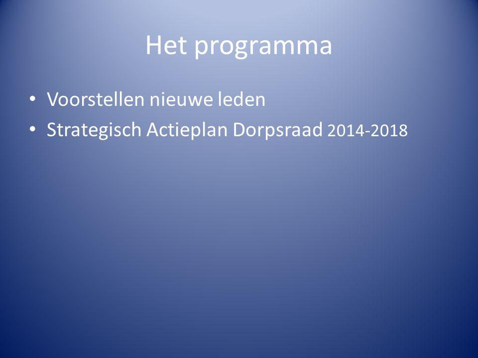 Het programma Voorstellen nieuwe leden Strategisch Actieplan Dorpsraad 2014-2018