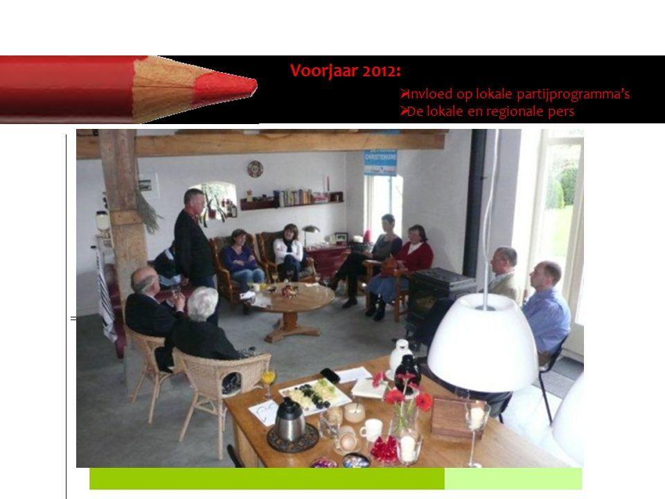 Voorjaar 2012:  Invloed op lokale partijprogramma's  De lokale en regionale pers  Invloed op de lokale partijprogramma's: vraag inventaris op van d