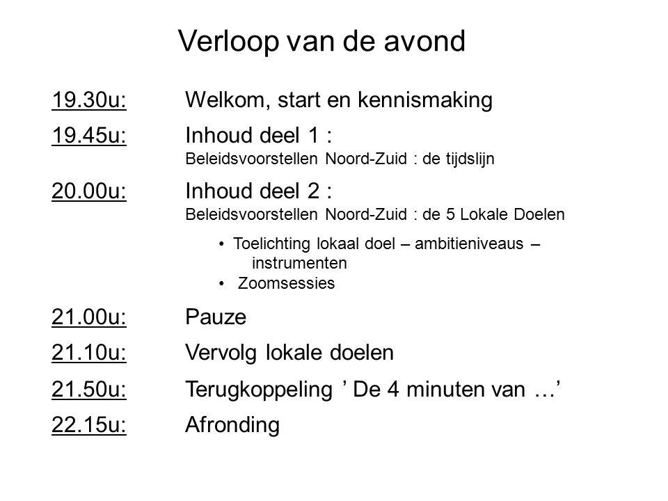 19.30u: Welkom, start en kennismaking 19.45u: Inhoud deel 1 : Beleidsvoorstellen Noord-Zuid : de tijdslijn 20.00u: Inhoud deel 2 : Beleidsvoorstellen