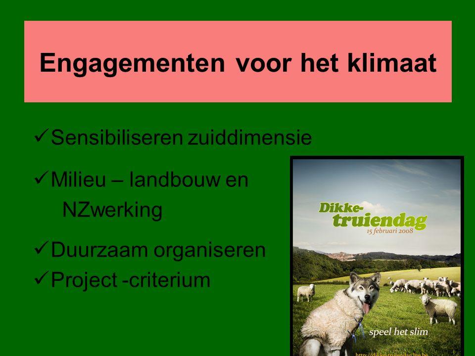 Engagementen voor het klimaat Sensibiliseren zuiddimensie Milieu – landbouw en NZwerking Duurzaam organiseren Project -criterium