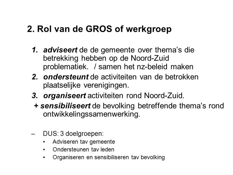 2. Rol van de GROS of werkgroep 1.adviseert de de gemeente over thema's die betrekking hebben op de Noord-Zuid problematiek. / samen het nz-beleid mak