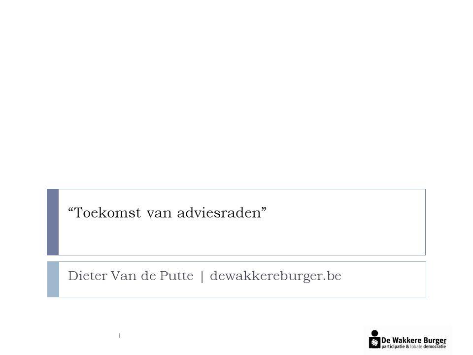 Toekomst van adviesraden Dieter Van de Putte | dewakkereburger.be 1