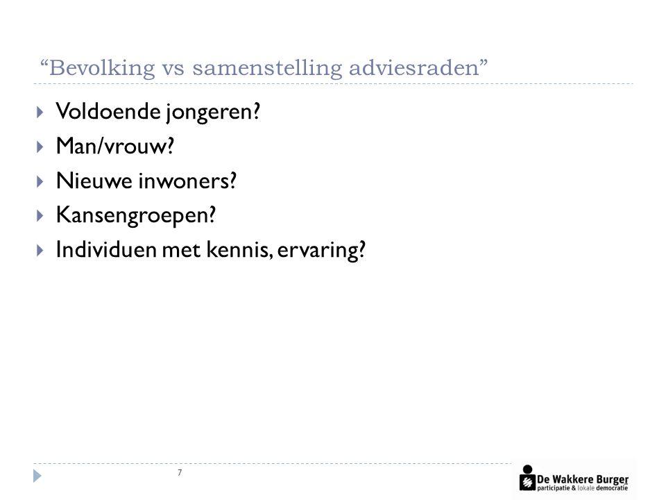 Bevolking vs samenstelling adviesraden 7  Voldoende jongeren.