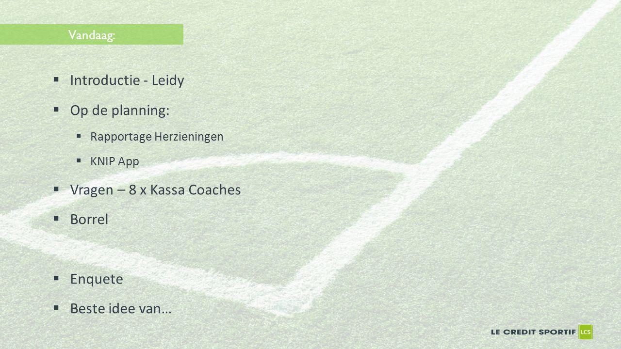 Vandaag:  Introductie - Leidy  Op de planning:  Rapportage Herzieningen  KNIP App  Vragen – 8 x Kassa Coaches  Borrel  Enquete  Beste idee van…
