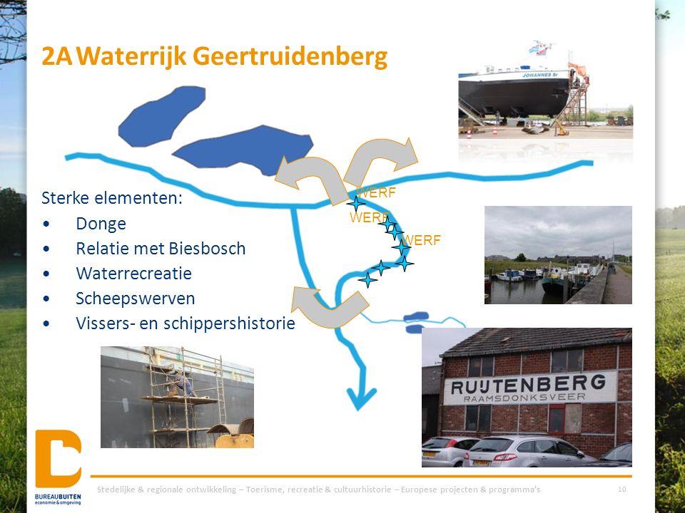 2AWaterrijk Geertruidenberg Stedelijke & regionale ontwikkeling – Toerisme, recreatie & cultuurhistorie – Europese projecten & programma's 10 WERF Ste