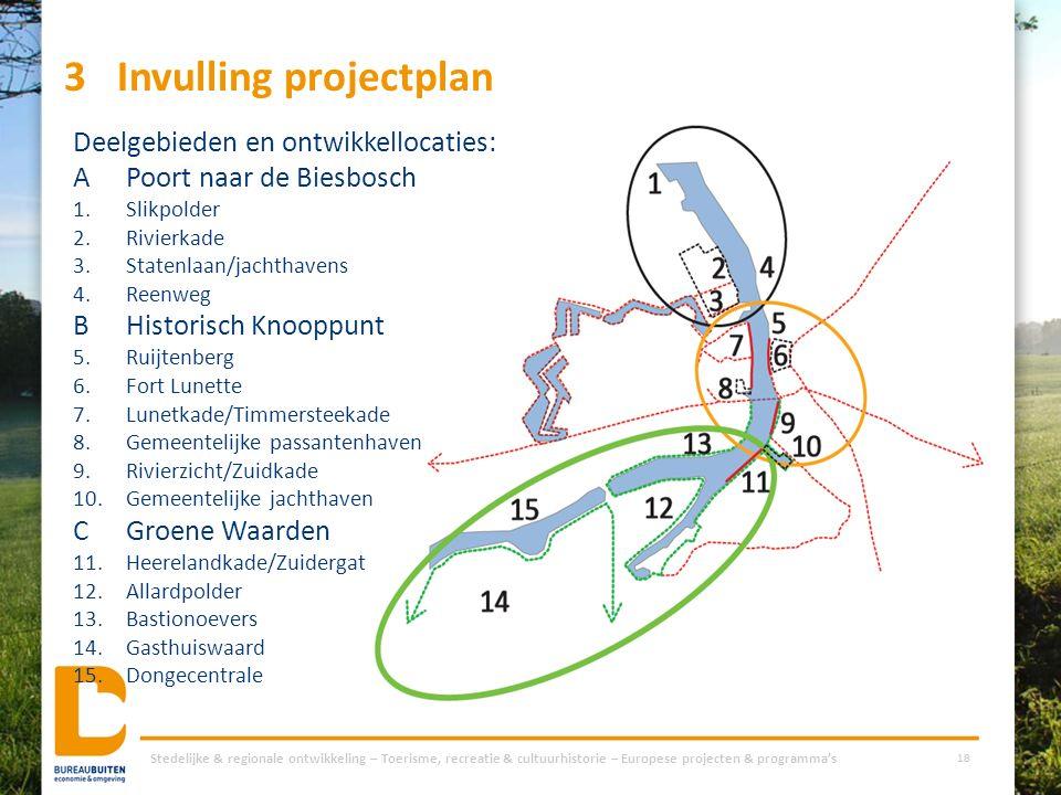 3Invulling projectplan Stedelijke & regionale ontwikkeling – Toerisme, recreatie & cultuurhistorie – Europese projecten & programma's 18 Deelgebieden