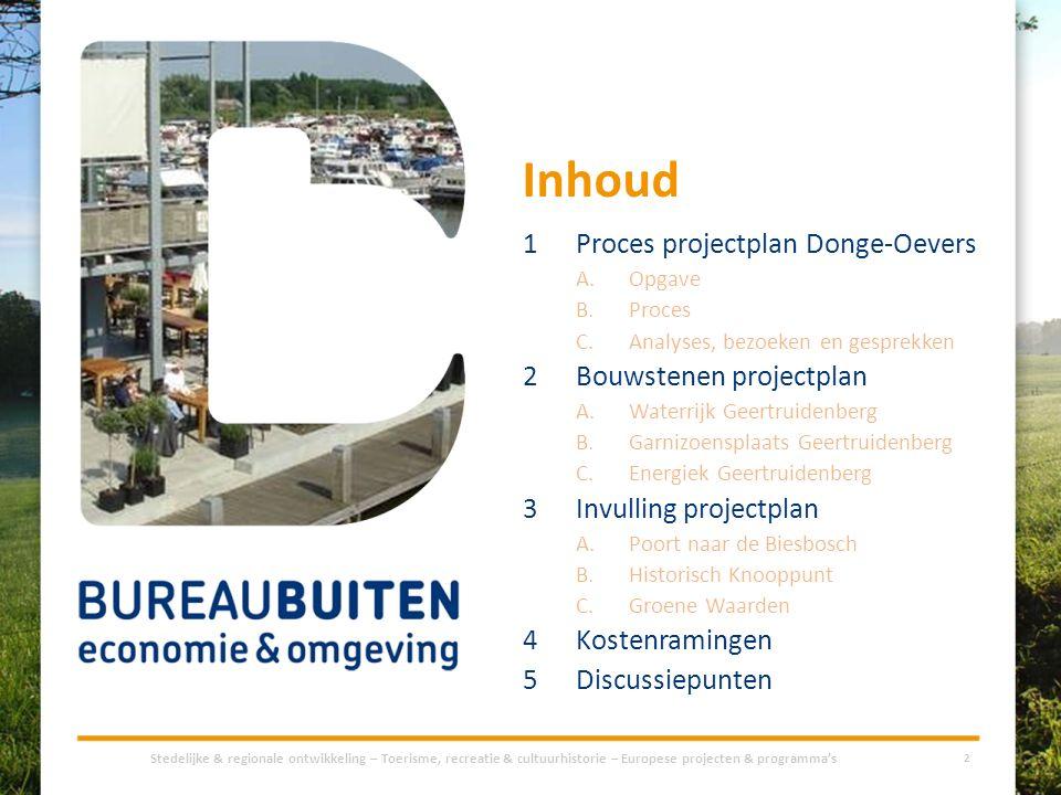 Inhoud 1Proces projectplan Donge-Oevers A.Opgave B.Proces C.Analyses, bezoeken en gesprekken 2Bouwstenen projectplan A.Waterrijk Geertruidenberg B.Gar