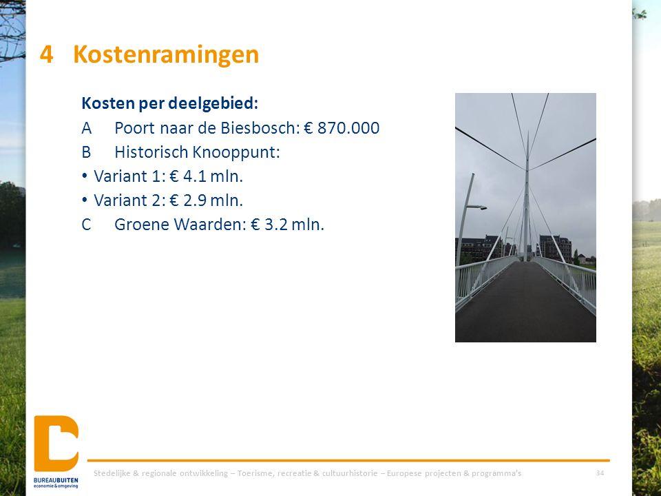 4Kostenramingen Kosten per deelgebied: APoort naar de Biesbosch: € 870.000 BHistorisch Knooppunt: Variant 1: € 4.1 mln. Variant 2: € 2.9 mln. CGroene
