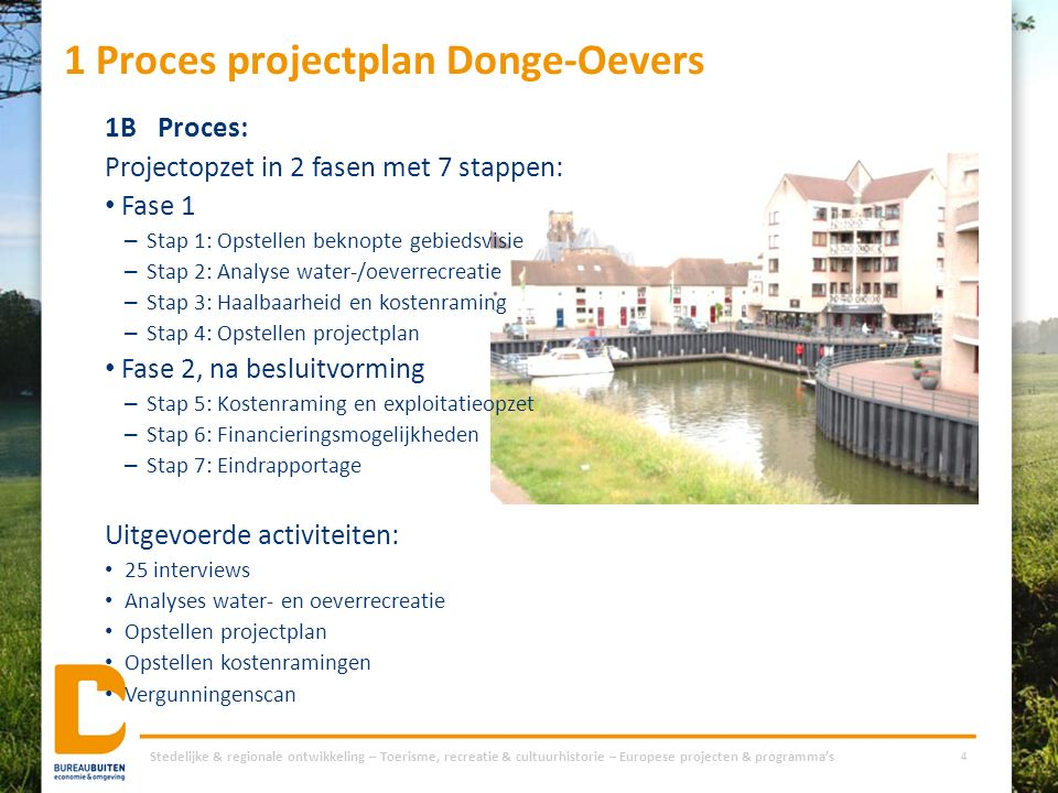 1 Proces projectplan Donge-Oevers 1BProces: Projectopzet in 2 fasen met 7 stappen: Fase 1 – Stap 1: Opstellen beknopte gebiedsvisie – Stap 2: Analyse