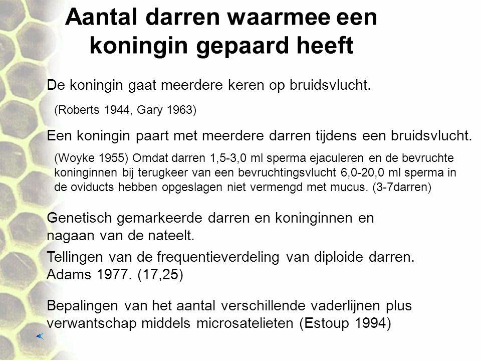 Aantal darren waarmee een koningin gepaard heeft Tellingen van de frequentieverdeling van diploide darren. Adams 1977. (17,25) Bepalingen van het aant