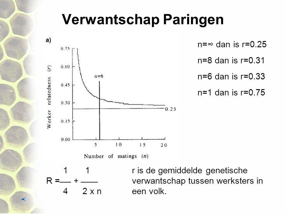 Verwantschap Paringen 1 1r is de gemiddelde genetische R = + verwantschap tussen werksters in 4 2 x neen volk. n=6 dan is r=0.33 n=1 dan is r=0.7