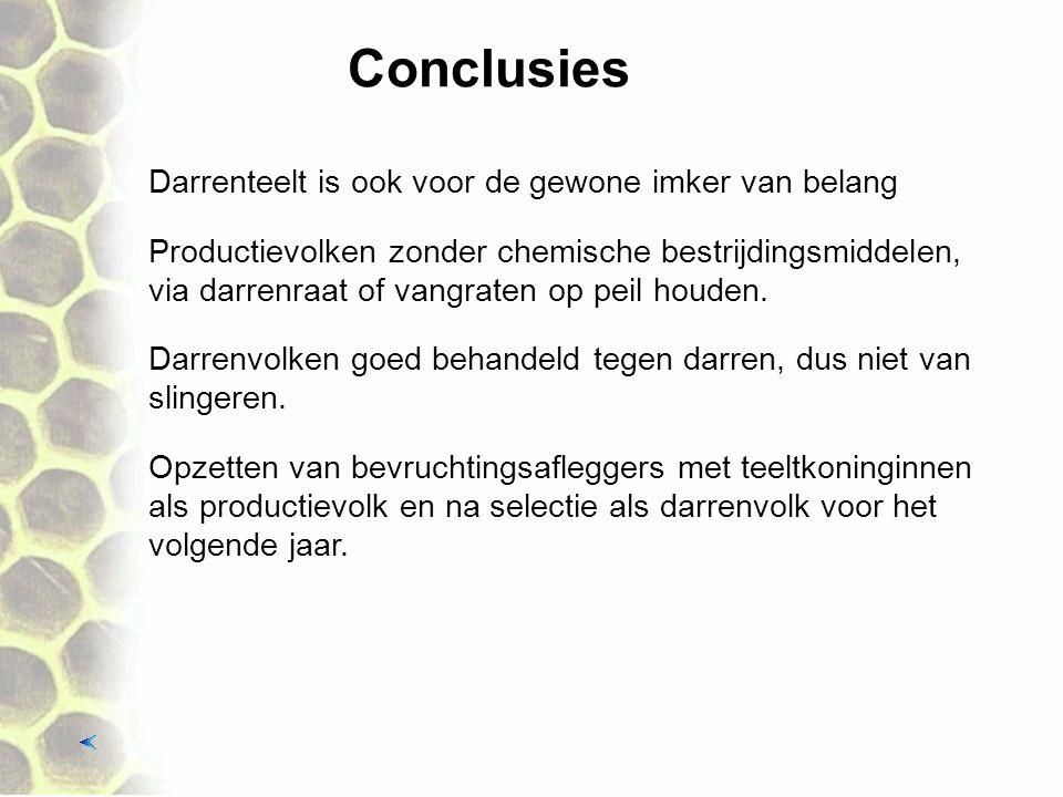 Conclusies Darrenteelt is ook voor de gewone imker van belang Productievolken zonder chemische bestrijdingsmiddelen, via darrenraat of vangraten op pe