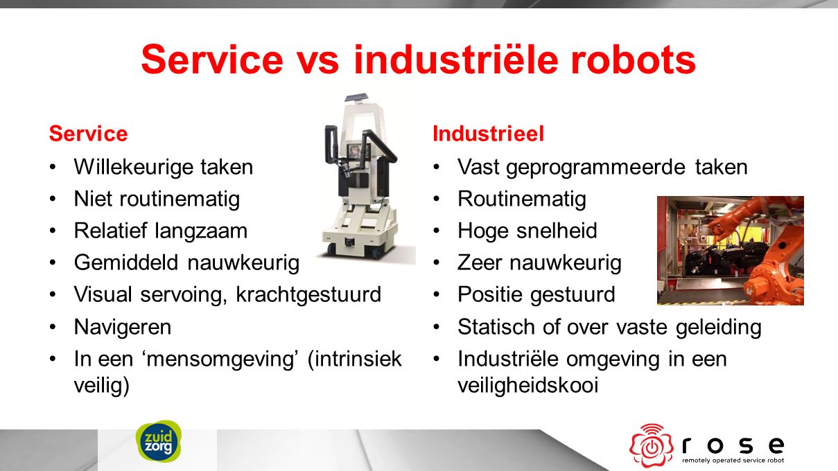 Service vs industriële robots Service Willekeurige taken Niet routinematig Relatief langzaam Gemiddeld nauwkeurig Visual servoing, krachtgestuurd Navi
