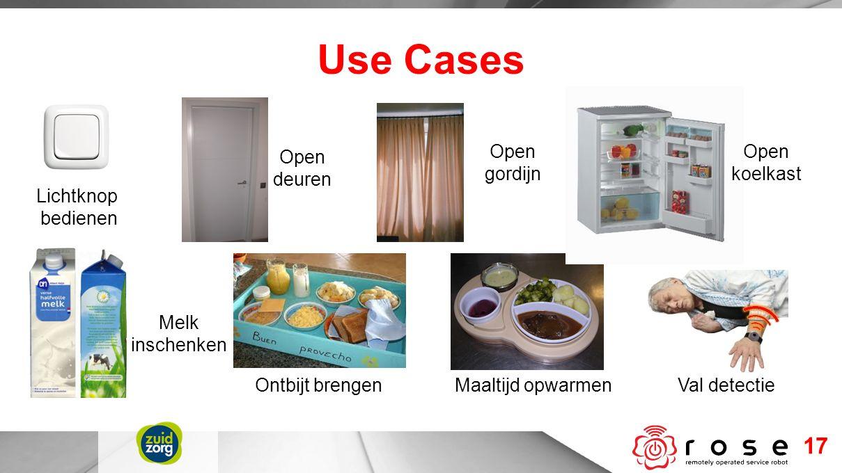 Use Cases 17 Lichtknop bedienen Open deuren Open gordijn Open koelkast Melk inschenken Maaltijd opwarmenOntbijt brengenVal detectie