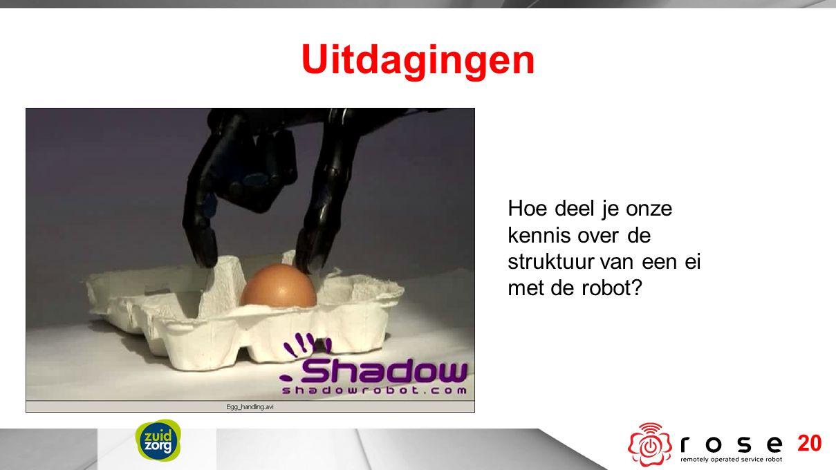 Uitdagingen 20 Hoe deel je onze kennis over de struktuur van een ei met de robot?