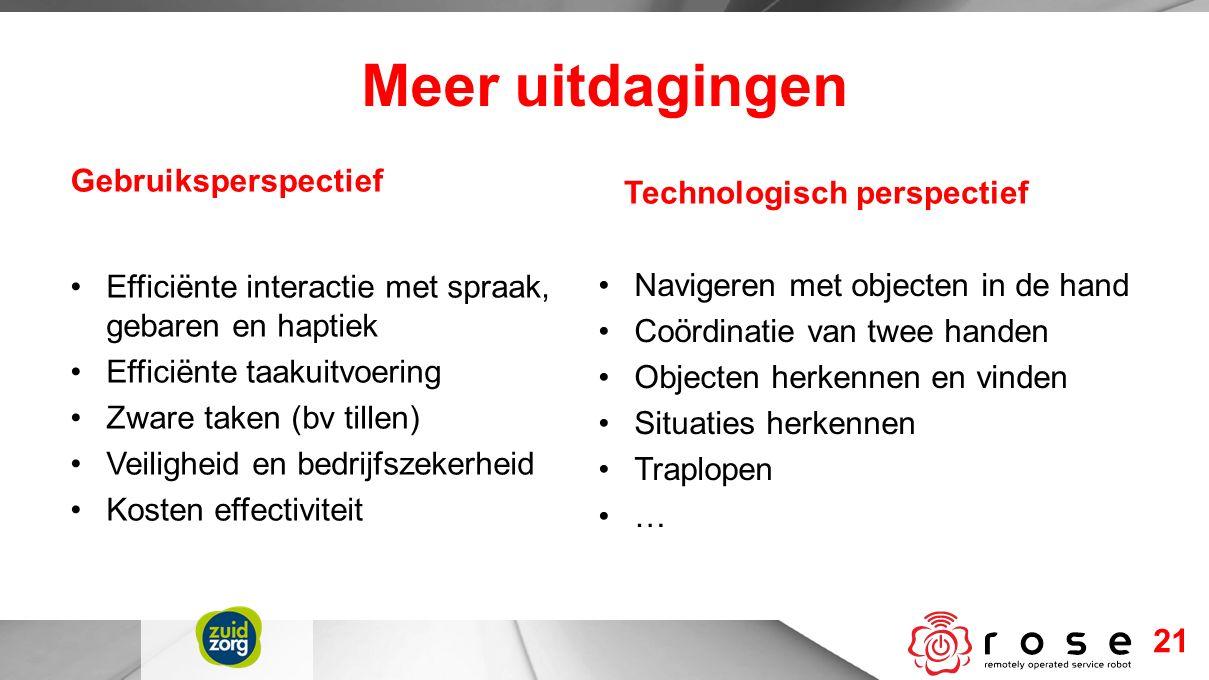 Efficiënte interactie met spraak, gebaren en haptiek Efficiënte taakuitvoering Zware taken (bv tillen) Veiligheid en bedrijfszekerheid Kosten effectiv