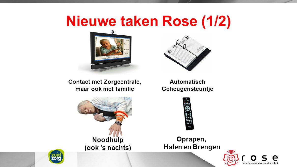 Nieuwe taken Rose (1/2) Contact met Zorgcentrale, maar ook met familie Automatisch Geheugensteuntje Noodhulp (ook 's nachts) Oprapen, Halen en Brengen