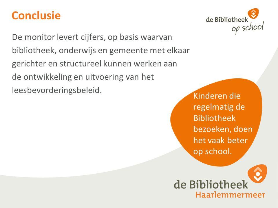 Conclusie De monitor levert cijfers, op basis waarvan bibliotheek, onderwijs en gemeente met elkaar gerichter en structureel kunnen werken aan de ontwikkeling en uitvoering van het leesbevorderingsbeleid.