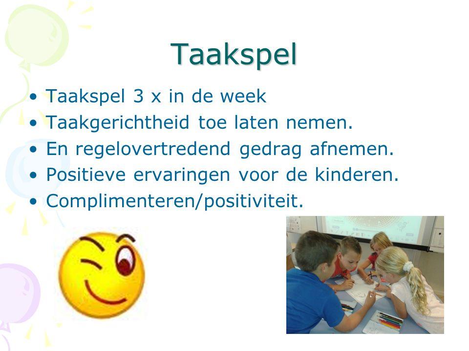 Taakspel Taakspel 3 x in de week Taakgerichtheid toe laten nemen. En regelovertredend gedrag afnemen. Positieve ervaringen voor de kinderen. Complimen