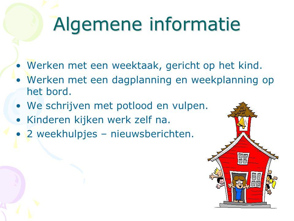 Algemene informatie Werken met een weektaak, gericht op het kind.