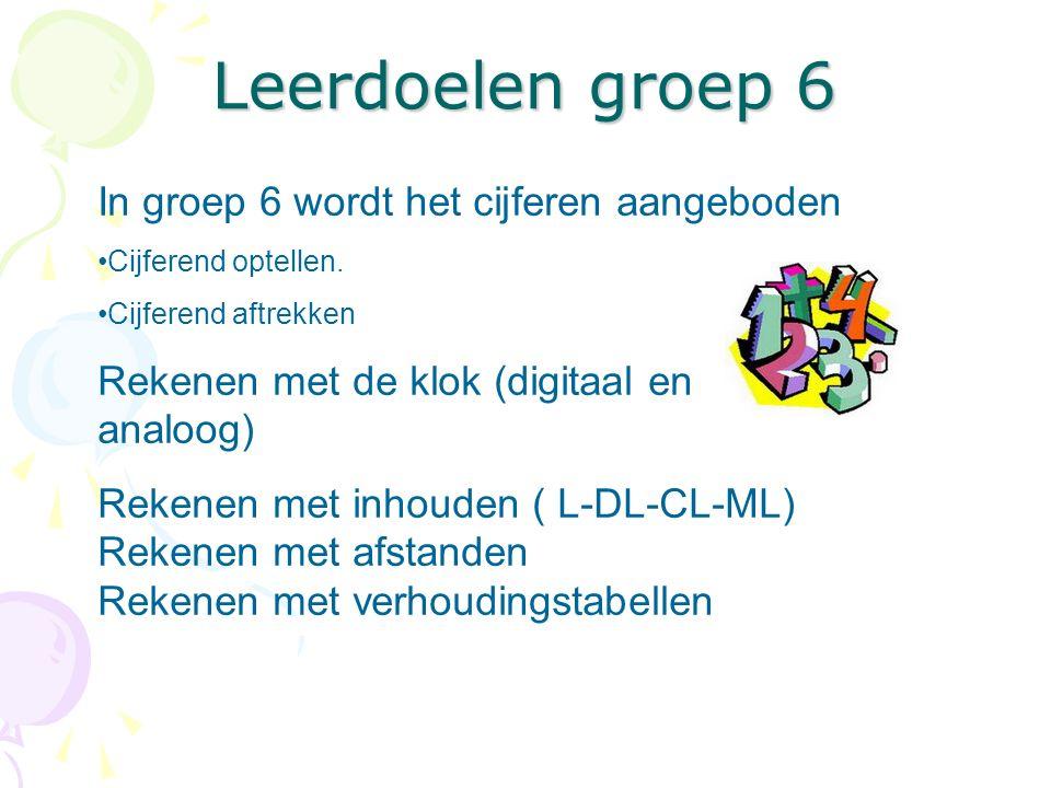 Leerdoelen groep 6 In groep 6 wordt het cijferen aangeboden Cijferend optellen. Cijferend aftrekken Rekenen met de klok (digitaal en analoog) Rekenen