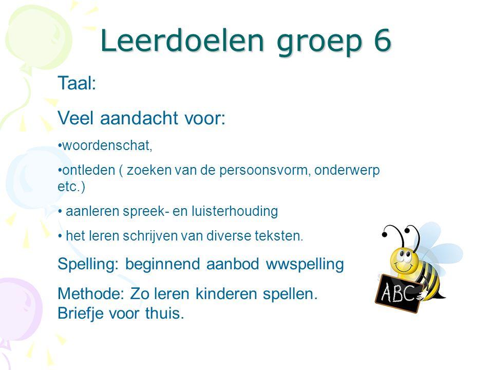 Leerdoelen groep 6 Taal: Veel aandacht voor: woordenschat, ontleden ( zoeken van de persoonsvorm, onderwerp etc.) aanleren spreek- en luisterhouding h