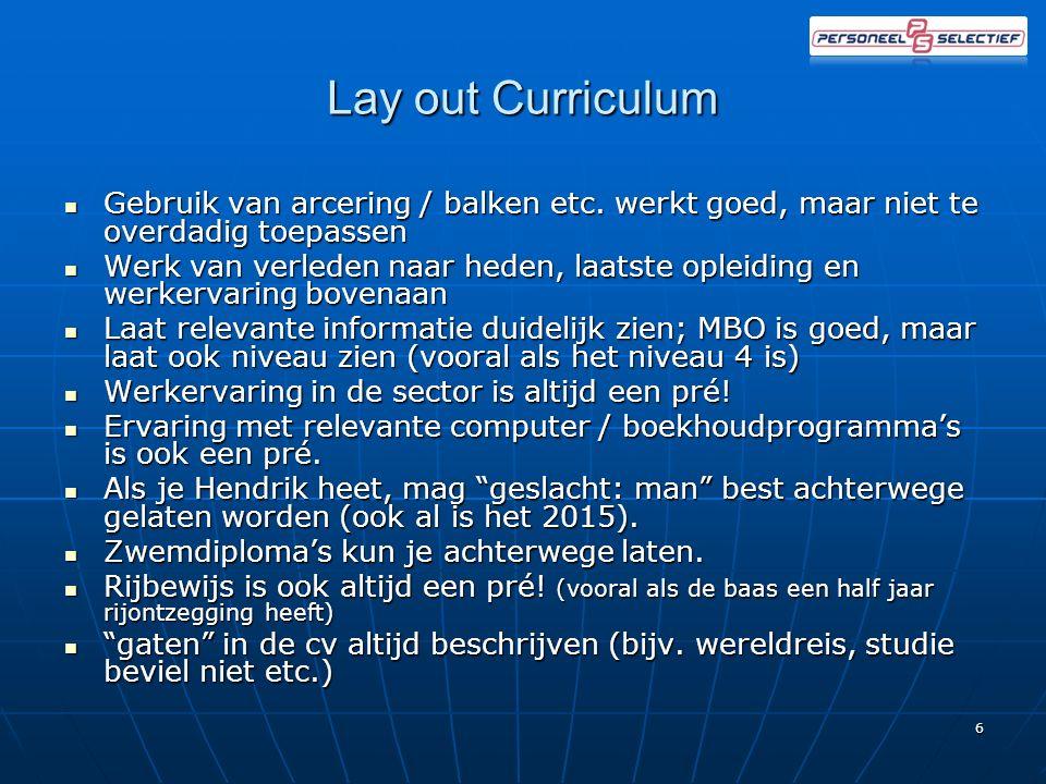 Lay out Curriculum Gebruik van arcering / balken etc.