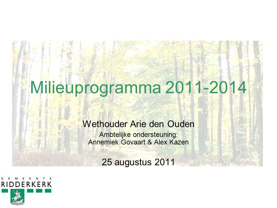 Milieuprogramma 2011-2014 Wethouder Arie den Ouden Ambtelijke ondersteuning: Annemiek Govaart & Alex Kazen 25 augustus 2011