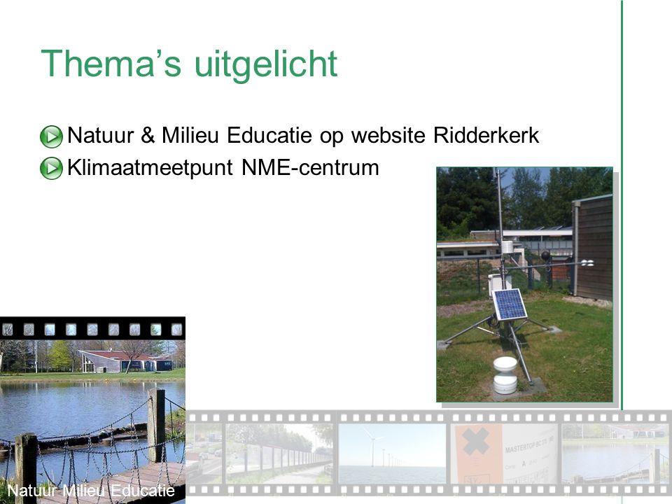 Thema's uitgelicht Natuur & Milieu Educatie op website Ridderkerk Klimaatmeetpunt NME-centrum Natuur Milieu Educatie