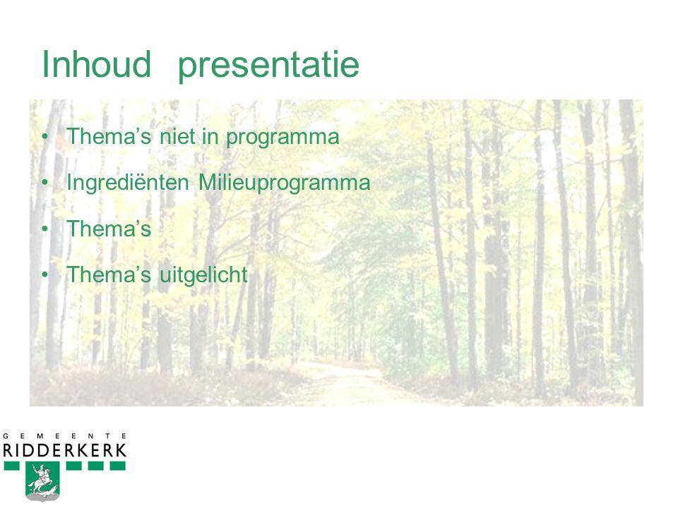 Inhoud presentatie Thema's niet in programma Ingrediënten Milieuprogramma Thema's Thema's uitgelicht