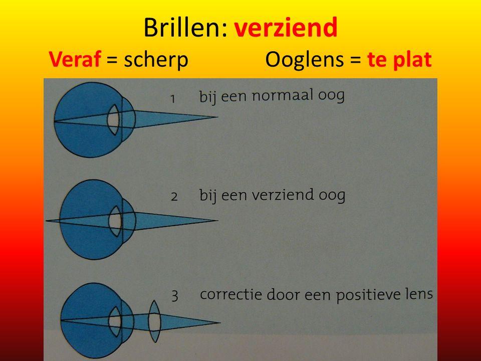 Brillen: verziend Veraf = scherp Ooglens = te plat