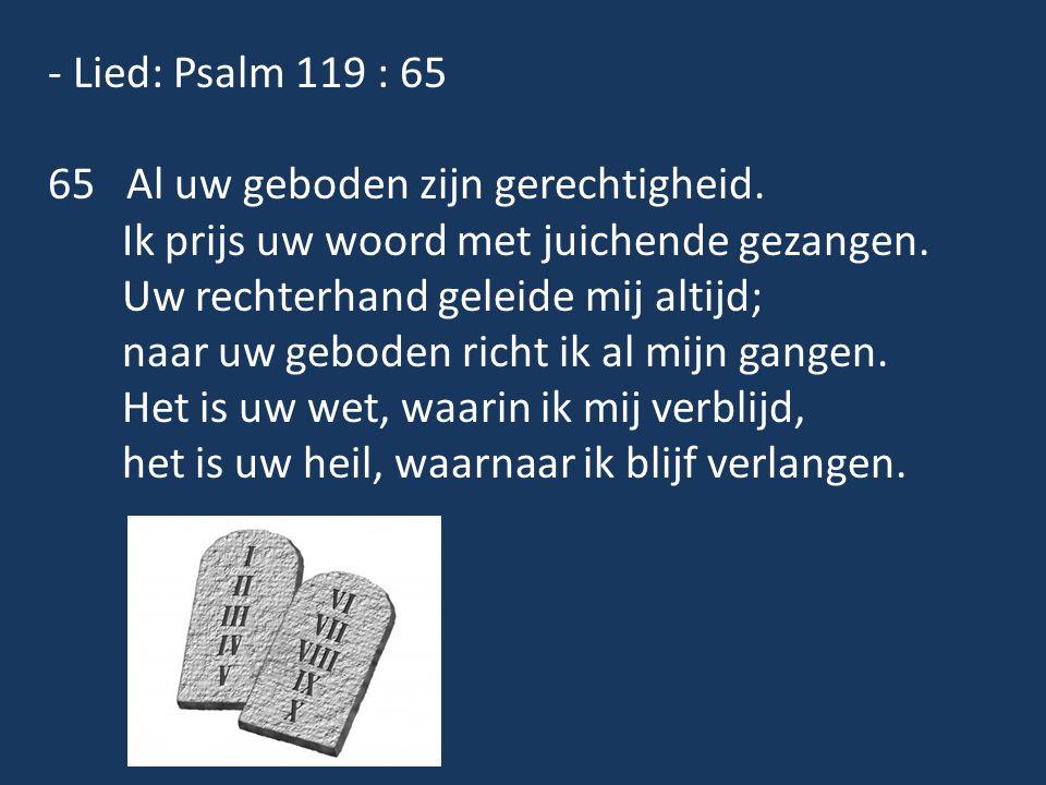 - Lied: Psalm 119 : 65 65 Al uw geboden zijn gerechtigheid. Ik prijs uw woord met juichende gezangen. Uw rechterhand geleide mij altijd; naar uw gebod