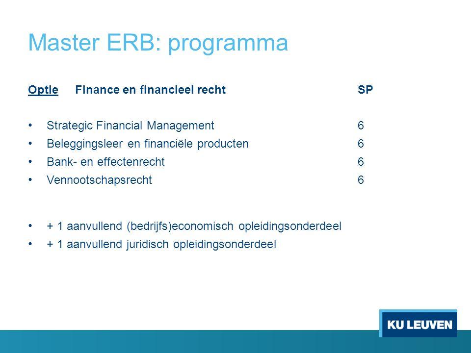 Master ERB: programma OptieFinance en financieel recht SP Strategic Financial Management6 Beleggingsleer en financiële producten 6 Bank- en effectenrecht6 Vennootschapsrecht6 + 1 aanvullend (bedrijfs)economisch opleidingsonderdeel + 1 aanvullend juridisch opleidingsonderdeel