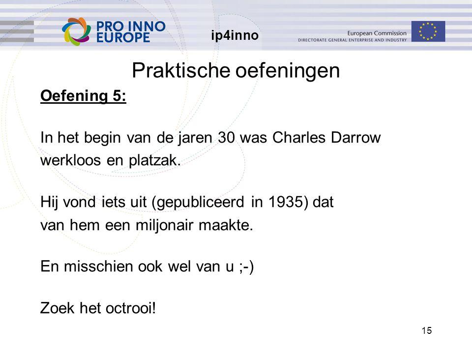 ip4inno 15 Praktische oefeningen Oefening 5: In het begin van de jaren 30 was Charles Darrow werkloos en platzak. Hij vond iets uit (gepubliceerd in 1