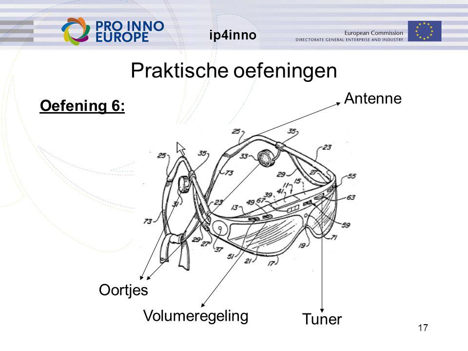 ip4inno 17 Praktische oefeningen Oortjes Tuner Volumeregeling Antenne Oefening 6: