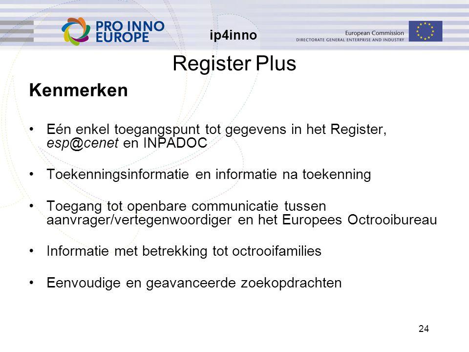 ip4inno 24 Register Plus Kenmerken Eén enkel toegangspunt tot gegevens in het Register, esp@cenet en INPADOC Toekenningsinformatie en informatie na toekenning Toegang tot openbare communicatie tussen aanvrager/vertegenwoordiger en het Europees Octrooibureau Informatie met betrekking tot octrooifamilies Eenvoudige en geavanceerde zoekopdrachten