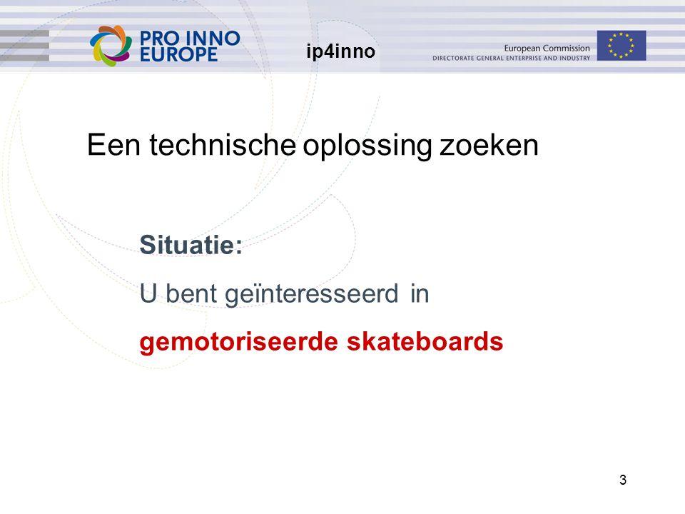 ip4inno 3 Een technische oplossing zoeken Situatie: U bent geïnteresseerd in gemotoriseerde skateboards