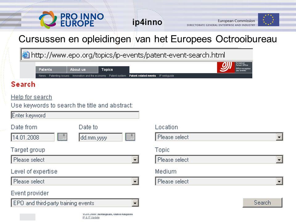 ip4inno 33 Cursussen en opleidingen van het Europees Octrooibureau opleiding: