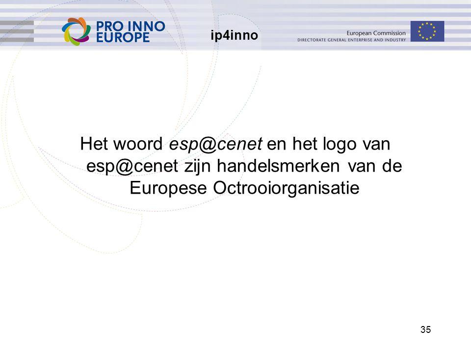 ip4inno 35 Het woord esp@cenet en het logo van esp@cenet zijn handelsmerken van de Europese Octrooiorganisatie