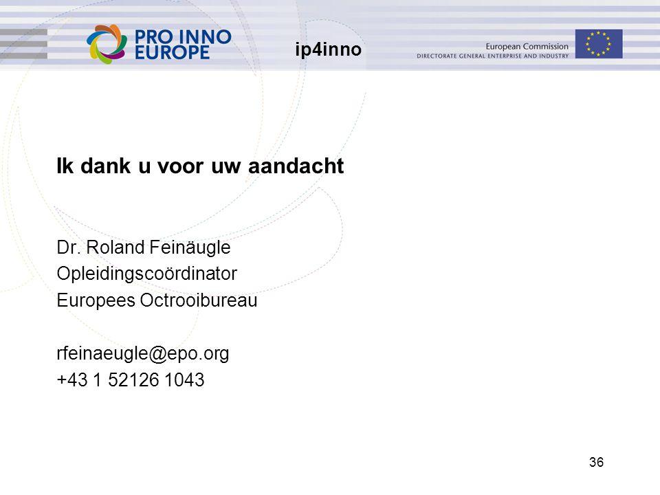 ip4inno 36 Ik dank u voor uw aandacht Dr. Roland Feinäugle Opleidingscoördinator Europees Octrooibureau rfeinaeugle@epo.org +43 1 52126 1043
