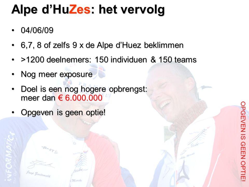 Alpe d'HuZes: het vervolg OPGEVEN IS GEEN OPTIE! 04/06/0904/06/09 6,7, 8 of zelfs 9 x de Alpe d'Huez beklimmen6,7, 8 of zelfs 9 x de Alpe d'Huez bekli