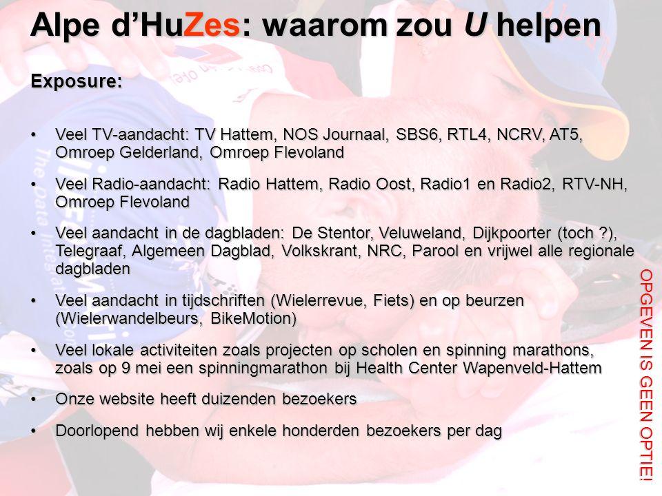 Alpe d'HuZes: waarom zou U helpen OPGEVEN IS GEEN OPTIE! Exposure: Veel TV-aandacht: TV Hattem, NOS Journaal, SBS6, RTL4, NCRV, AT5, Omroep Gelderland
