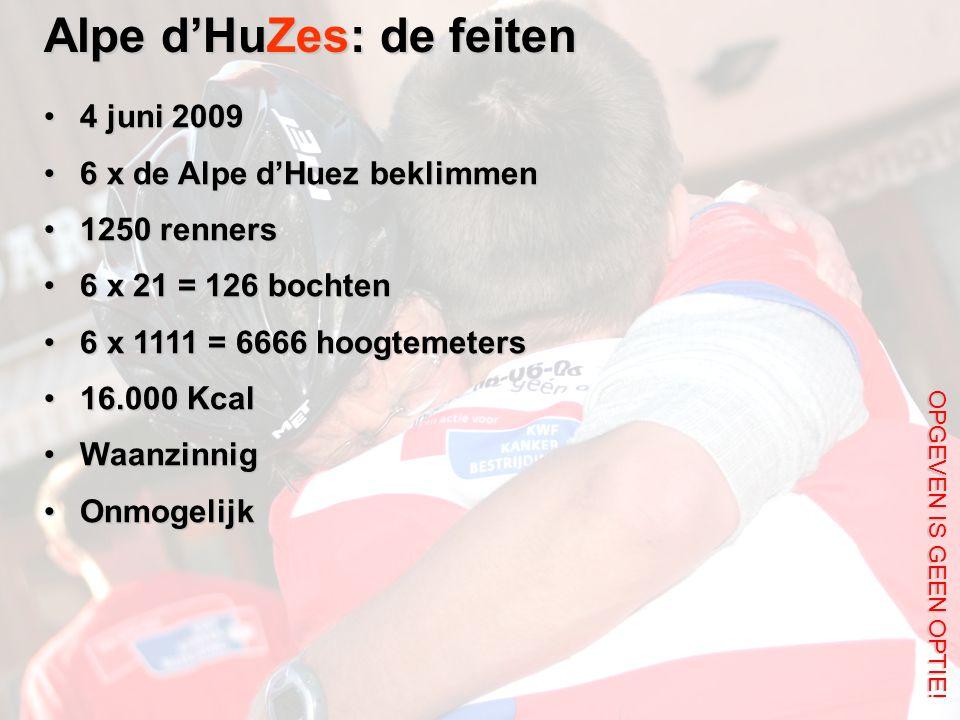 Alpe d'HuZes: de feiten 4 juni 20094 juni 2009 6 x de Alpe d'Huez beklimmen6 x de Alpe d'Huez beklimmen 1250 renners1250 renners 6 x 21 = 126 bochten6